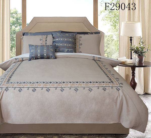Luxus Roanne Brown Broderéiert Duvet Cover Set