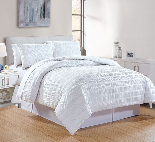 Simple White Duvet Cover Textured Set with Zipper Closure for hotel