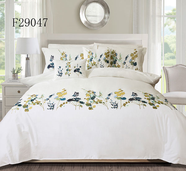 Botanical Flowers Pattern Printed Comforter Set 100% Cotton Fabric