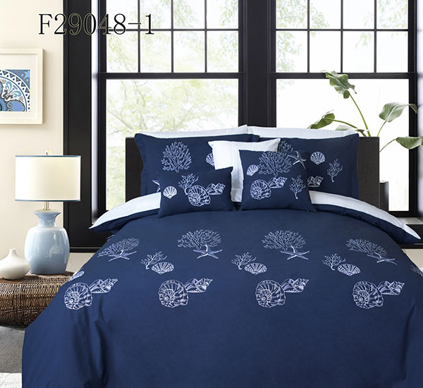 Blue Duvet Cover 3 Pieces Set Conch Pattern Printed Soft Cotton Comforter Cover