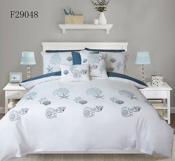 White Duvet Cover 3 Pieces Set Conch Pattern Printed Soft Cotton Comforter Cover