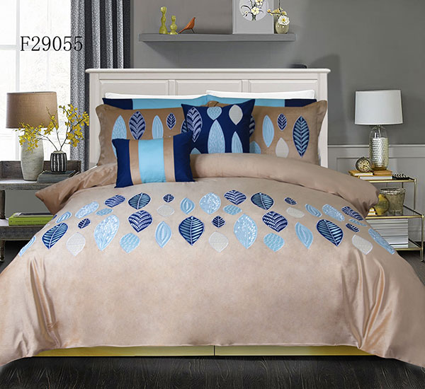 Orange Duvet Cover 3 Pieces Set Leaf Pattern Printed Soft Cotton Comforter Cover