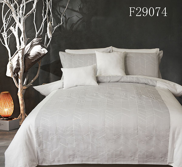 White-Grey Duvet Cover 3 Pieces Set Printed Soft Cotton Comforter Cover