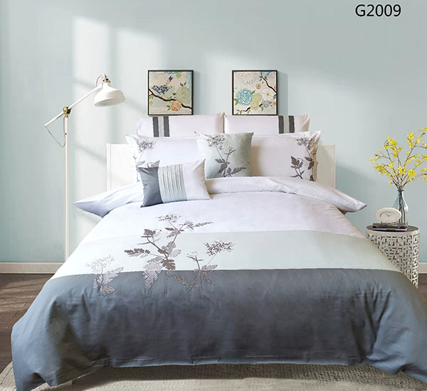 Chinese style plant embroidery 100% polyester bedding set for living room