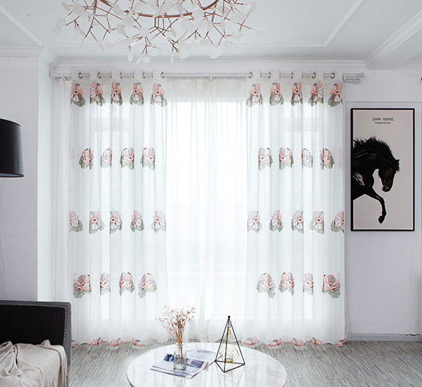 Luxury floral polyester embroidery sheer for bedding room