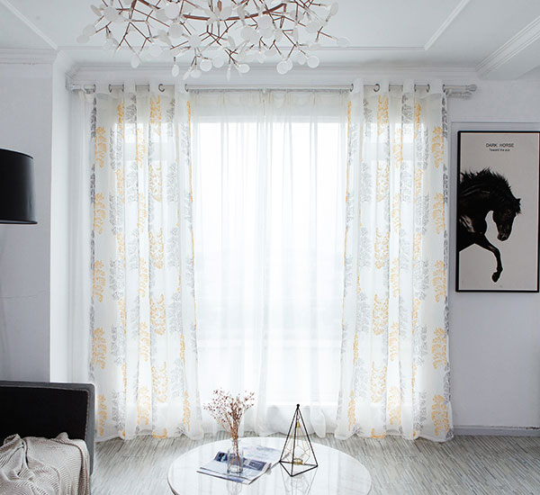 Fashionable Leaf design polyester embroidery sheer for living room