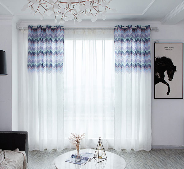Top Puzzle pattern polyester embroidery sheer for living room
