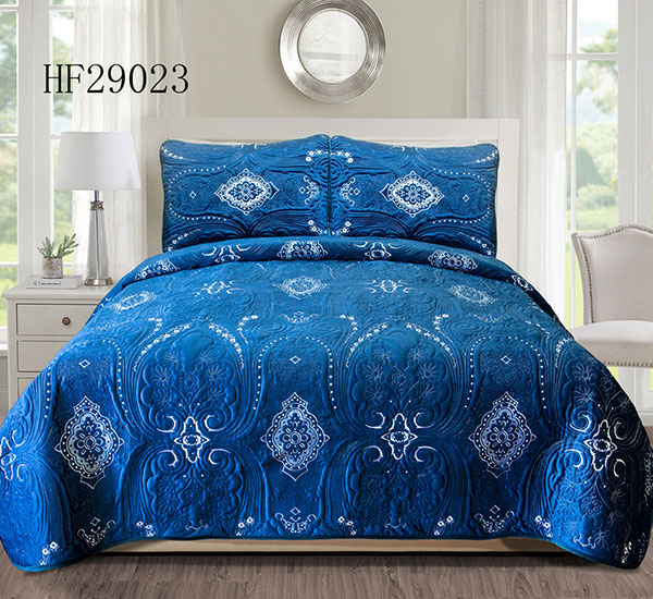 Royal blue 100% polyester bedspread-HF29023