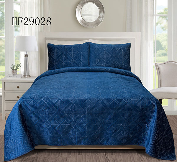 Ocean blue lattice design bedspread-HF29028