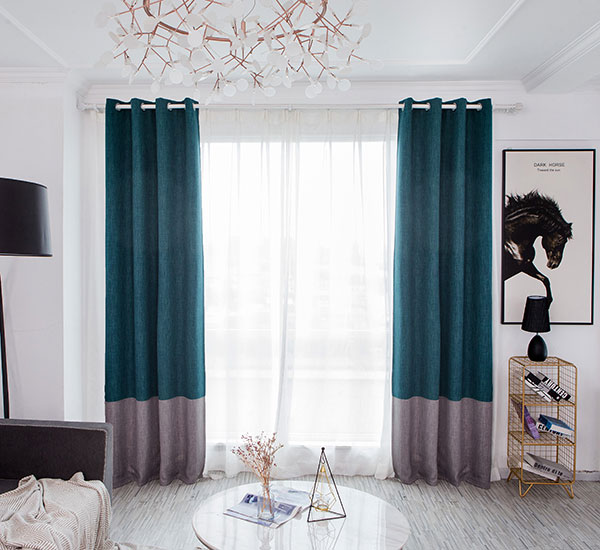 Simple Modern Living Room Splicing Blackout Curtains-8185
