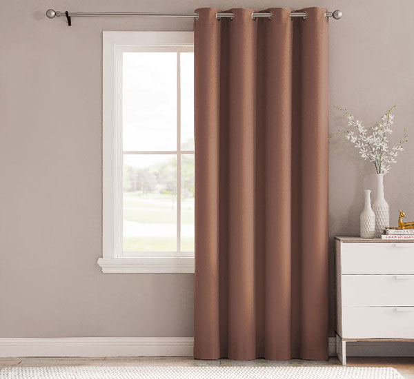 Thermal Insulated Bedroom Curtains Soft Blackout Eyelet Brown Curtains