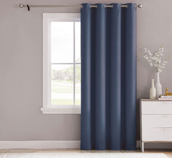 Navy Blue Bedroom Eyelet Thermal Insulated Room Darkening Curtains