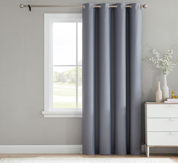 Blackout Curtains 2 Panels Set Solid Silver Eyelet Darkening Curtain