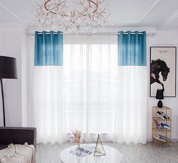Faarw Block Sheer Curtains - Linnen Look Semi Sheer Polyester 8294 Print Sheer Curtain