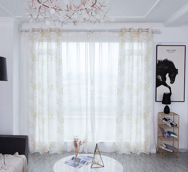 Golden Semi Sheer Voile Window Xử lý Polyester 8383 Print Sheer